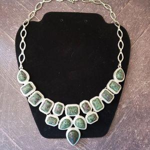 Jewelry - Faux Ruby Zoisite silvertone necklace